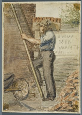 Karl L. H. Mueller (American, born Germany, 1820-1887). <em>Brick Layer</em>, 1864. Watercolor over black media underdrawing, 5 x 3 1/2 in. (12.7 x 8.9 cm). Brooklyn Museum, Gift of the American Art Council, 2008.18.1. Creative Commons-BY (Photo: Brooklyn Museum, 2008.18.1_PS1.jpg)