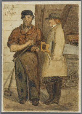 Karl L. H. Mueller (American, born Germany, 1820-1887). <em>Two Stone Workers</em>, 1864. Watercolor over black media underdrawing, 5 x 3 1/2 in. (12.7 x 8.9 cm). Brooklyn Museum, Gift of the American Art Council, 2008.18.2. Creative Commons-BY (Photo: Brooklyn Museum, 2008.18.2_PS1.jpg)