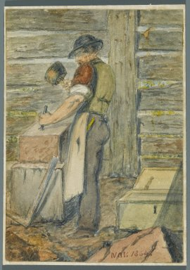 Karl L. H. Mueller (American, born Germany, 1820-1887). <em>Stone Worker</em>, 1864. Watercolor over black media underdrawing, 5 x 3 1/2 in. (12.7 x 8.9 cm). Brooklyn Museum, Gift of the American Art Council, 2008.18.3. Creative Commons-BY (Photo: Brooklyn Museum, 2008.18.3_PS1.jpg)