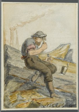 Karl L. H. Mueller (American, born Germany, 1820-1887). <em>Stone Worker</em>, 1864. Watercolor over black media underdrawing, 5 x 3 1/2 in. (12.7 x 8.9 cm). Brooklyn Museum, Gift of the American Art Council, 2008.18.4. Creative Commons-BY (Photo: Brooklyn Museum, 2008.18.4_PS1.jpg)