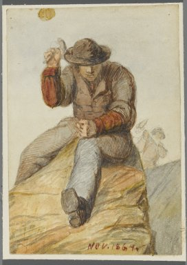 Karl L. H. Mueller (American, born Germany, 1820-1887). <em>Stone Worker</em>, 1864. Watercolor over black media underdrawing, 5 x 3 1/2 in. (12.7 x 8.9 cm). Brooklyn Museum, Gift of the American Art Council, 2008.18.5. Creative Commons-BY (Photo: Brooklyn Museum, 2008.18.5_PS1.jpg)