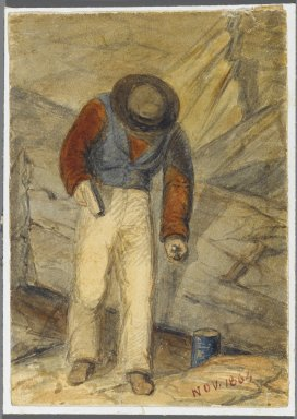 Karl L. H. Mueller (American, born Germany, 1820-1887). <em>Stone Worker</em>, 1864. Watercolor over black media underdrawing, 5 x 3 1/2 in. (12.7 x 8.9 cm). Brooklyn Museum, Gift of the American Art Council, 2008.18.6. Creative Commons-BY (Photo: Brooklyn Museum, 2008.18.6_PS1.jpg)