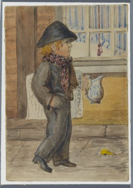 Karl L. H. Mueller (American, born Germany, 1820-1887). <em>Police Gazette Newspaper Boy</em>, 1864. Watercolor over black media underdrawing, 5 x 3 1/2 in. (12.7 x 8.9 cm). Brooklyn Museum, Gift of the American Art Council, 2008.18.8. Creative Commons-BY (Photo: Brooklyn Museum, 2008.18.8_PS1.jpg)