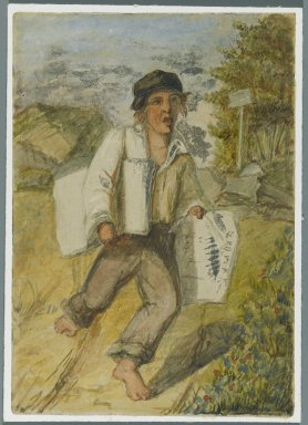 Karl L. H. Mueller (American, born Germany, 1820-1887). <em>Newspaper Boy</em>, 1864. Watercolor over black media underdrawing, 5 x 3 1/2 in. (12.7 x 8.9 cm). Brooklyn Museum, Gift of the American Art Council, 2008.18.9. Creative Commons-BY (Photo: Brooklyn Museum, 2008.18.9_PS1.jpg)