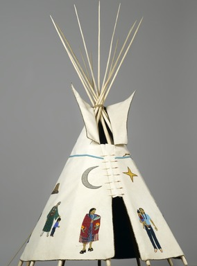 "Teri Greeves (Kiowa, born 1970). <em>21st Century Traditional: Beaded Tipi</em>, 2010. Brain tanned deer hide, charlotte cut glass beads, seed beads, bugle beads, glass beads, sterling silver beads, pearls, shell, raw diamonds, hand stamped sterling silver, hand stamped copper, cotton cloth, nylon ""sinew"" rope, pine, poplar, bubinga, includes base: 46 x 29 x 32 1/2 in. (116.8 x 73.7 x 82.6 cm). Brooklyn Museum, Florence B. and Carl L. Selden Fund, 2008.28. Creative Commons-BY (Photo: Brooklyn Museum, 2008.28_PS2.jpg)"
