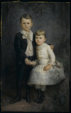 George Gerhard (American, born Germany, 1830-1902). <em>Portrait of Two Children</em>, 1891. Pastel on paper mounted to canvas, 58 1/4 x 38 3/4 in. (148 x 98.4 cm). Brooklyn Museum, Gift of Edgar Harden, 2008.2 (Photo: Brooklyn Museum, 2008.2_PS2.jpg)