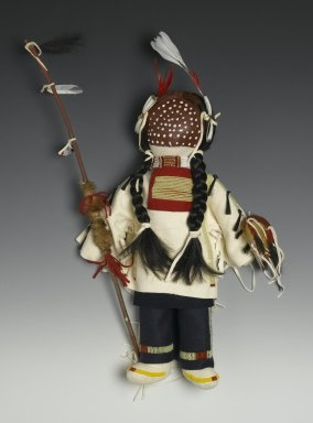 Mary Lou Big Day. <em>Male Doll</em>, 2008. Cotton fabric, cotton batting, deer hide, horsehair, pigment, glass beads, metal beads, thread, feathers, wool stroud cloth, 21 x 13 x 3 1/2 in. (53.3 x 33 x 8.9 cm). Brooklyn Museum, Brooklyn Museum Collection, 2008.3.1. Creative Commons-BY (Photo: Brooklyn Museum, 2008.3.1_PS2.jpg)