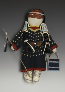 Mary Lou Big Day. <em>Female Doll</em>, 2008. Cotton, cotton batting, wool stroud cloth, deer skin, glass beads, pigment, plastic elk shaped 'teeth' beads, leather, metal studs., 17 1/2 x 12 x 3 1/2 in. (44.5 x 30.5 x 8.9 cm). Brooklyn Museum, Brooklyn Museum Collection, 2008.3.2. Creative Commons-BY (Photo: Brooklyn Museum, 2008.3.2_PS2.jpg)