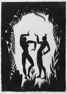 Richard Bruce Nugent (American, 1906-1987). <em>Dancing Figures</em>, ca. 1935. Black ink and graphite on moderately thick, moderately textured, cream colored wove paper, 14 3/4 x 10 1/2 in. (37.5 x 26.7 cm). Brooklyn Museum, Gift of Dr. Thomas H. Wirth, gift of Frederick J. Adler, by exchange, bequest of Richard J. Kempe, by exchange, and gift of Abraham Walkowitz, by exchange, 2008.50.6 (Photo: Brooklyn Museum, 2008.50.6_PS2.jpg)