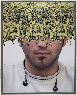 Sadegh Tirafkan (Iranian, 1965-2013). <em>The Loss of Our Identity #1 (Boy)</em>, 2007. Chromogenic photograph, 43 x 35 in. (109.2 x 88.9 cm). Brooklyn Museum, Museum Expedition 1913-1914, Museum Collection Fund, by exchange, 2008.51. © artist or artist's estate (Photo: Brooklyn Museum, 2008.51_PS6.jpg)