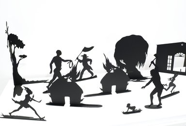 Kara Walker (American, born 1969). <em>Burning African Village Play Set with Big House and Lynching</em>, 2006. Painted laser-cut steel, 24 x 38 1/4 x 90 in. (61 x 97.2 x 228.6 cm). Brooklyn Museum, Purchased with funds given by John and Barbara Vogelstein and Stephanie and Tim Ingrassia, 2008.53.1a-v. © artist or artist's estate (Photo: Brooklyn Museum, 2008.53.1a-v_detail1_PS4.jpg)