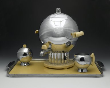 "Walter von Nessen (American, born Germany, 1889-1943). <em>Coffee Urn, ""Coronet Pattern"", Model No. 90121</em>, 1938. Chromed metal, Bakelite, glass, 12 x 10 1/4 x 10 in. (30.5 x 26 x 25.4 cm). Brooklyn Museum, Gift of John C. Waddell, 2008.58.22a-d. Creative Commons-BY (Photo: , 2008.58.22a-d_2008.58.23a-b_2008.58.24_2008.58.25_PS2.jpg)"