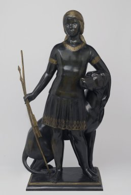 Paul Howard Manship (American, 1885-1966). <em>Vivian St. George and Her Dog</em>, 1924. Bronze, parcel gilt, 43 1/2 x 24 x 16 in. (110.5 x 61 x 40.6 cm). Brooklyn Museum, Gift of the American Art Council and Dick S. Ramsay Fund, 2008.68. © artist or artist's estate (Photo: Brooklyn Museum, 2008.68_PS2.jpg)