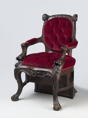 Augustus (Auguste Emmanuel) Eliaers (French, active Boston, 1849-1865). <em>Library Step-Chair</em>, patented October 25, 1853. Walnut, original under upholstery, modern mohair show cover, brass, 37 x 25 1/2 x 25 1/2 in. (94 x 64.8 x 64.8 cm). Brooklyn Museum, Designated Purchase Fund, 2008.75. Creative Commons-BY (Photo: Brooklyn Museum, 2008.75_PS6.jpg)