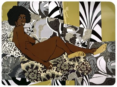 Mickalene Thomas (American, born 1971). <em>A Little Taste Outside of Love</em>, 2007. Acrylic, enamel and rhinestones on wood panel, Overall: 108 x 144 in. (274.3 x 365.8 cm). Brooklyn Museum, Gift of Giulia Borghese and Designated Purchase Fund, 2008.7a-c. © artist or artist's estate (Photo: Image courtesy of the artist and Rhona Hoffman Gallery, Chicago, 2008.7a-c_design_scan.jpg)