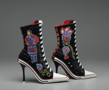 Teri Greeves (Kiowa, born 1970). <em>Great Lakes Girls</em>, 2008. Glass beads, bugle beads, Swarovski crystals, sterling silver stamped conchae, spiny oyster shell cabochons, canvas high-heeled sneakers, each: 11 1/2 x 9 x 3 in. (29.2 x 22.9 x 7.6 cm). Brooklyn Museum, Gift of Stanley J. Love, by exchange, 2009.1a-b. Creative Commons-BY (Photo: Brooklyn Museum, 2009.1a-b_side1_PS2.jpg)