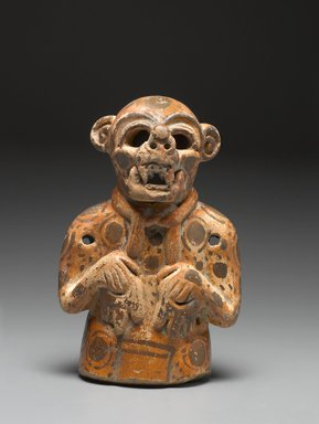 Maya. <em>Effigy Vessel in the Form of a Jaguar</em>, 400-500. Ceramic, pigment, 7 x 4 1/4 x 3 in. (17.8 x 10.8 x 7.6 cm). Brooklyn Museum, Gift in memory of Frederic Zeller, 2009.2.11. Creative Commons-BY (Photo: Brooklyn Museum, 2009.2.11_front_PS6.jpg)