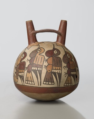Nazca. <em>Double-spout Vessel</em>, 1-450. Ceramic, pigment, 7 1/2 x 5 1/2 x 5 1/2 in. (19.1 x 14 x 14 cm). Brooklyn Museum, Gift in memory of Frederic Zeller, 2009.2.2. Creative Commons-BY (Photo: Brooklyn Museum, 2009.2.2_PS6.jpg)
