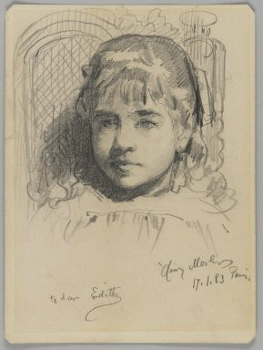 Henry Mosler (American, 1841-1920). <em>Portrait of the Artist's Daughter</em>, January 17, 1883. Graphite on medium, cream, wove paper, Sheet: 6 3/16 x 4 5/8 in. (15.7 x 11.7 cm). Brooklyn Museum, Joseph F. McCrindle Collection, 2009.20.5 (Photo: Brooklyn Museum, 2009.20.5_PS3.jpg)
