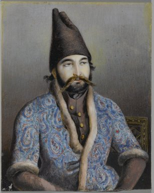 Possibly Abu'l Hasan Ghaffari, Sani' al-Mulk (active, 1814-1866). <em>Portrait of a Nobleman or Royal Figure (Possibly Muhammad Shah Qajar)</em>, first half 19th century. Ink and opaque watercolor on ivory or shell, 5 3/8 x 4 1/4 in. (13.7 x 10.8 cm). Brooklyn Museum, Gift of the Asian Art Council in memory of Robert Dickes, 2009.21. Creative Commons-BY (Photo: Brooklyn Museum, 2009.21_PS2.jpg)