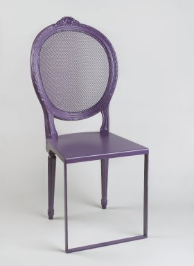 Uhuru Design (2003-Present). <em>Standard Side Chair</em>, designed and made 2009. Steel, beech, aluminum, oil-based enamel paint, 39 3/4 x 17 3/4 x 21 3/4 in. (101 x 45.1 x 55.2 cm). Brooklyn Museum, Gift of Uhuru Design, 2009.30. Creative Commons-BY (Photo: Brooklyn Museum, 2009.30_PS1.jpg)