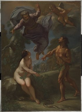 Benedetto Luti (Italian, Roman, 1666-1724). <em>The Expulsion from Paradise</em>, ca. 1706. Oil on canvas, 53 7/8 x 38 3/4 in. (136.8 x 98.4 cm). Brooklyn Museum, Joseph F. McCrindle Collection, 2009.35.2 (Photo: Brooklyn Museum, 2009.35.2_PS6.jpg)