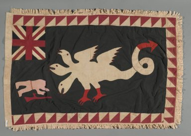 Fante. <em>Asafo Company Flag (Frankaa)</em>, early to mid-20th century. Textile with appliqué and embroidery, 56 x 36 1/2 in. (142.2 x 92.7 cm). Brooklyn Museum, Designated Purchase Fund, 2009.39.1. Creative Commons-BY (Photo: Brooklyn Museum, 2009.39.1_PS1.jpg)