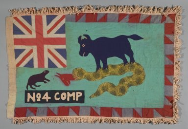 Fante. <em>Asafo Company Flag (Frankaa)</em>, early to mid-20th century. Textile with appliqué and embroidery, 54 x 37 1/2 in. (137.2 x 95.3 cm). Brooklyn Museum, Designated Purchase Fund, 2009.39.2. Creative Commons-BY (Photo: Brooklyn Museum, 2009.39.2_PS1.jpg)