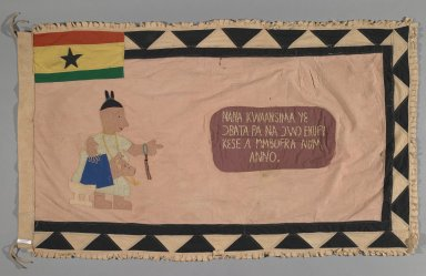 Fante. <em>Flag of a Female Asafo Captain (Frankaa)</em>, late 20th century. Textile with appliqué and embroidery, 56 3/4 x 35 in. (144.1 x 88.9 cm). Brooklyn Museum, Designated Purchase Fund, 2009.39.3. Creative Commons-BY (Photo: Brooklyn Museum, 2009.39.3_PS1.jpg)
