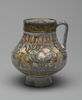 <em>Beaker</em>, 13th century. Ceramic; fritware, painted in luster and blue over an opaque white glaze, 6 3/4 x 6 in. (17.1 x 15.2 cm). Brooklyn Museum, Museum Expedition 1913-1914, Museum Collection Fund, by exchange, 2009.41. Creative Commons-BY (Photo: Brooklyn Museum, 2009.41_PS2.jpg)