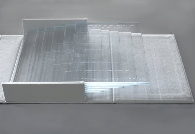 Kelly Driscoll. <em>Fragments of Light 2</em>, 2003. Glass, laser etched; ultrasuede binding, 2 x 25 x 10 in. (5.1 x 63.5 x 25.4 cm). Brooklyn Museum, Museum Expedition 1913-1914, Museum Collection Fund, by exchange, 2009.42a-i. Creative Commons-BY (Photo: Brooklyn Museum, 2009.42_PS2.jpg)