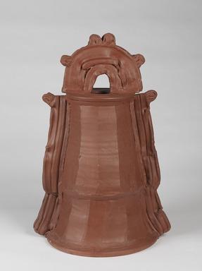 Betty Woodman (American, 1930-2018). <em>Terra Sigillatta Bell</em>, 1975. Glazed earthenware, 24 1/2 x 16 1/4 x 13 1/4 in. (62.2 x 41.3 x 33.7 cm). Brooklyn Museum, Gift of Charles Woodman and Andrea Torrice, 2009.79. © artist or artist's estate (Photo: , 2009.79_PS9.jpg)