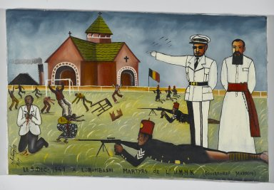 Tshibumba Kanda Matulu (Congolese, 1947-ca. 1981). <em>The Martyrs of the Union Minière du Haut Katanga at the Stadium Formerly Called 'Albert I', now 'Mobutu', Kenia Township, Lubumbashi</em>, ca. 1975. Oil on fabric
