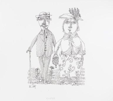 William Steig (American, 1907-2003). <em>[Untitled] (Couple)</em>. Brooklyn Museum, Gift of Jeanne Steig, 2010.20.101. © artist or artist's estate (Photo: Brooklyn Museum, 2010.20.101_PS4.jpg)