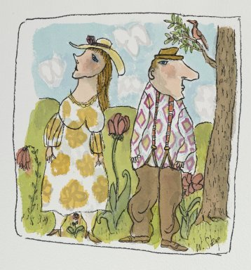 William Steig (American, 1907-2003). <em>Shy Lovers</em>, n.d. Watercolor and ink on paper, Sheet: 10 x 11 1/16 in. (25.4 x 28.1 cm). Brooklyn Museum, Gift of Jeanne Steig, 2010.20.103. © artist or artist's estate (Photo: Brooklyn Museum, 2010.20.103_PS2.jpg)