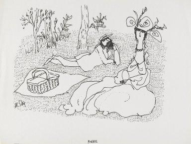 William Steig (American, 1907-2003). <em>[Untitled] (Picnic - Fancy Hat)</em>. Brooklyn Museum, Gift of Jeanne Steig, 2010.20.107. © artist or artist's estate (Photo: Brooklyn Museum, 2010.20.107_PS4.jpg)