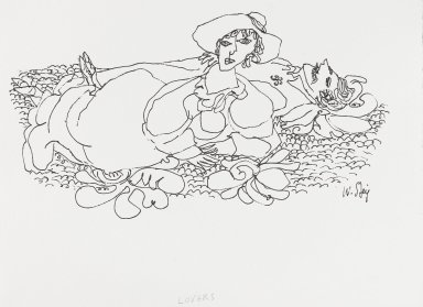 William Steig (American, 1907-2003). <em>[Untitled] (Lovers - Laying on Ground)</em>. Brooklyn Museum, Gift of Jeanne Steig, 2010.20.108. © artist or artist's estate (Photo: Brooklyn Museum, 2010.20.108_PS4.jpg)