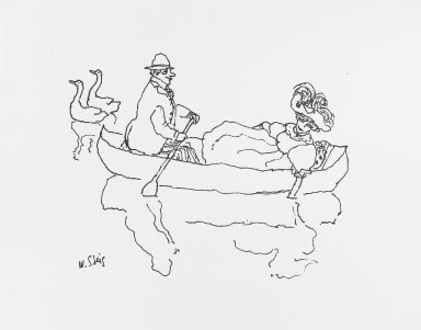 William Steig (American, 1907-2003). <em>[Untitled] (Boaters)</em>. Brooklyn Museum, Gift of Jeanne Steig, 2010.20.109. © artist or artist's estate (Photo: Brooklyn Museum, 2010.20.109_PS4.jpg)