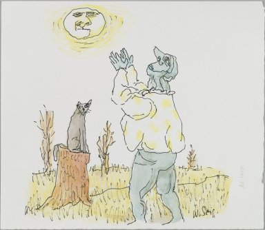 William Steig (American, 1907-2003). <em>[Untitled] (No Soap - Man and Cat)</em>. Brooklyn Museum, Gift of Jeanne Steig, 2010.20.10. © artist or artist's estate (Photo: Brooklyn Museum, 2010.20.10_PS4.jpg)