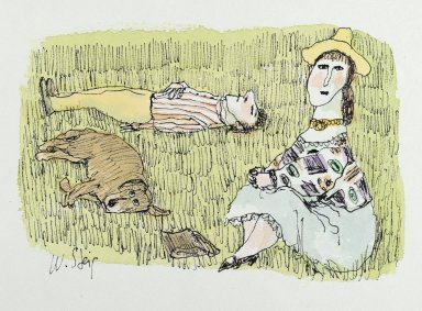 William Steig (American, 1907-2003). <em>Untitled (Couple and Dog Relaxing on Grass)</em>, n.d. Watercolor and ink on paper, Sheet: 7 3/8 x 10 1/2 in. (18.7 x 26.7 cm). Brooklyn Museum, Gift of Jeanne Steig, 2010.20.110. © artist or artist's estate (Photo: Brooklyn Museum, 2010.20.110_PS2.jpg)