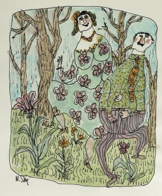William Steig (American, 1907-2003). <em>Untitled (Couple Dancing in Woods)</em>, n.d. Watercolor and ink on paper, Sheet: 7 3/8 x 10 1/2 in. (18.7 x 26.7 cm). Brooklyn Museum, Gift of Jeanne Steig, 2010.20.111. © artist or artist's estate (Photo: Brooklyn Museum, 2010.20.111_PS2.jpg)