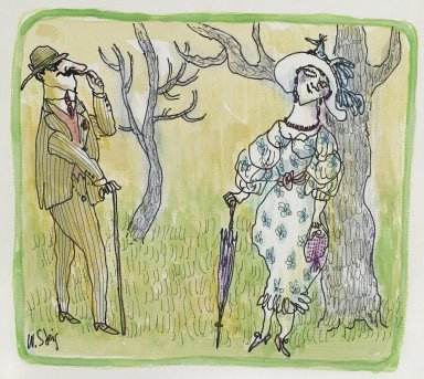 William Steig (American, 1907-2003). <em>Untitled (Couple Exchanging Flirtatious Glances)</em>, n.d. Watercolor and ink on paper, Sheet: 9 1/2 x 11 1/4 in. (24.1 x 28.6 cm). Brooklyn Museum, Gift of Jeanne Steig, 2010.20.112. © artist or artist's estate (Photo: Brooklyn Museum, 2010.20.112_PS2.jpg)