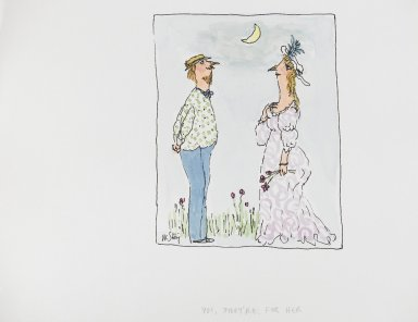 William Steig (American, 1907-2003). <em>[Untitled] (Yes They're for Her)</em>. Brooklyn Museum, Gift of Jeanne Steig, 2010.20.113. © artist or artist's estate (Photo: Brooklyn Museum, 2010.20.113_PS4.jpg)