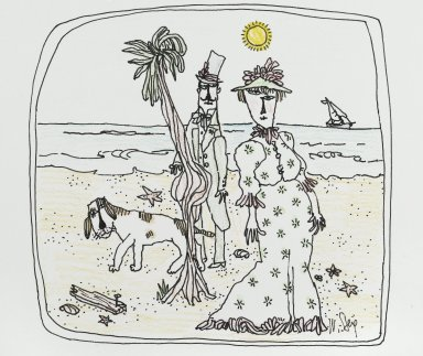 William Steig (American, 1907-2003). <em>[Untitled] (On the Beach)</em>. Brooklyn Museum, Gift of Jeanne Steig, 2010.20.115. © artist or artist's estate (Photo: Brooklyn Museum, 2010.20.115_PS2.jpg)