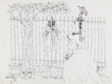 William Steig (American, 1907-2003). <em>[Untitled] (Clown and Fence)</em>. Brooklyn Museum, Gift of Jeanne Steig, 2010.20.116. © artist or artist's estate (Photo: Brooklyn Museum, 2010.20.116_PS4.jpg)