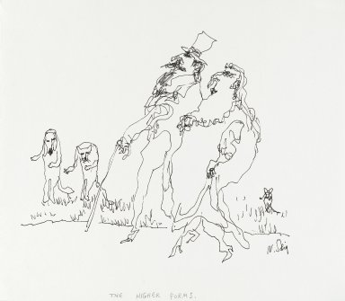 William Steig (American, 1907-2003). <em>[Untitled] (The Higher Forms - Animals Watching)</em>. Brooklyn Museum, Gift of Jeanne Steig, 2010.20.118. © artist or artist's estate (Photo: Brooklyn Museum, 2010.20.118_PS4.jpg)