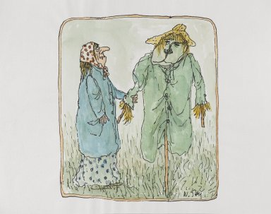 William Steig (American, 1907-2003). <em>[Untitled] (Woman and Scarecrow)</em>. Brooklyn Museum, Gift of Jeanne Steig, 2010.20.120. © artist or artist's estate (Photo: Brooklyn Museum, 2010.20.120_PS4.jpg)
