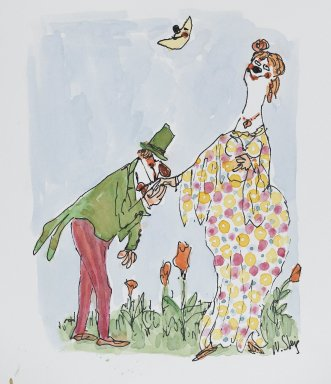 William Steig (American, 1907-2003). <em>[Untitled] (Clowns)</em>. Brooklyn Museum, Gift of Jeanne Steig, 2010.20.121. © artist or artist's estate (Photo: Brooklyn Museum, 2010.20.121_PS4.jpg)