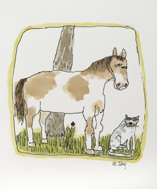 William Steig (American, 1907-2003). <em>[Untitled] (Horse and Cat)</em>, n.d. Watercolor and ink on paper, Sheet: 11 1/16 x 9 13/16 in. (28.1 x 24.9 cm). Brooklyn Museum, Gift of Jeanne Steig, 2010.20.125. © artist or artist's estate (Photo: Brooklyn Museum, 2010.20.125_PS2.jpg)