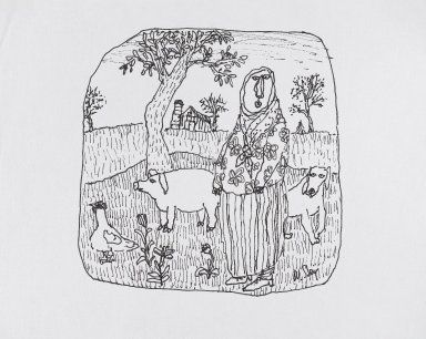 William Steig (American, 1907-2003). <em>[Untitled] (Farm Wife, Pig, Dog, Chicken)</em>. Brooklyn Museum, Gift of Jeanne Steig, 2010.20.14. © artist or artist's estate (Photo: Brooklyn Museum, 2010.20.14_PS4.jpg)
